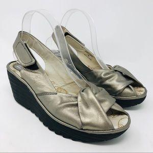 Fly London Yata Silver Metallic Wedges Sandals 40
